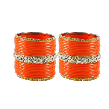 Extra Large Size  Brass & Acrylic Bangles Color Orange