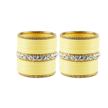 Extra Large Size  Brass & Acrylic Bangles Color Cream