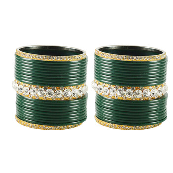 Extra Large Size  Brass & Acrylic Bangles Color Dark Green
