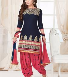 Buy Navy Blue Cotton embroidered unstitched salwar with dupatta dress-material online