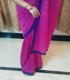 Buy Magenta and purple plain chanderi saree with blouse cotton-saree online
