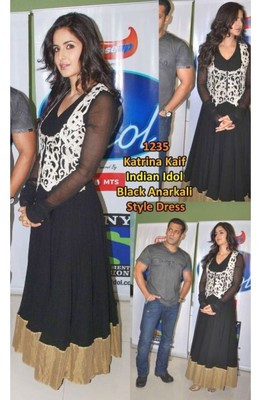 Katrina Ek Tha Tiger Promo Indian Idol Black Anarkali Suit