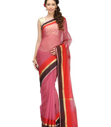 Buy rani pink woven cotton saree with blouse banarasi-saree online