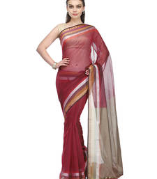 Buy maroon woven super net saree with blouse banarasi-saree online