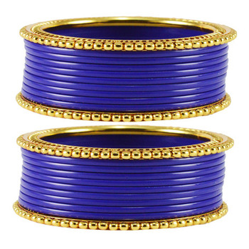 Extra Large Size  Brass & Acrylic Bangles Color Blue