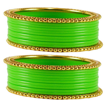 Extra Large Size  Brass & Acrylic Bangles Color Green