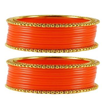Extra Large Size  Brass & Acrylic Bangles Color Orange
