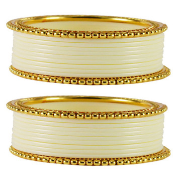 Extra Large Size  Brass & Acrylic Bangles Color White