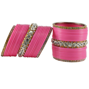 Extra Large Size  Brass & Acrylic Bangles Color Pink & Golden