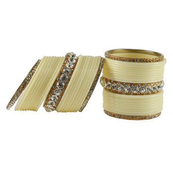 Extra Large Size  Brass & Acrylic Bangles Color Cream & Golden