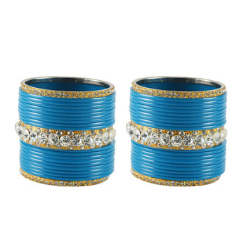 Extra Large Size  Brass & Acrylic Bangles Color Light Blue & Golden