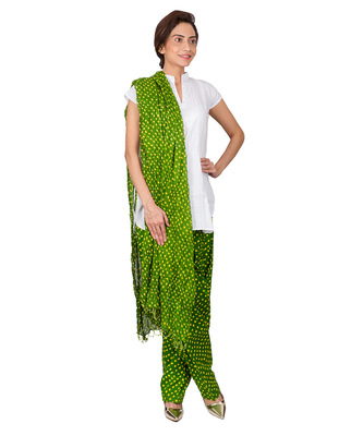 d4b3af7834f Womens Cottage Green bandhani printed cotton semi patiala and cotton dupatta  with beads - KALAPURI - 929346