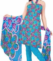 Buy Blue printed art silk unstitched salwar with dupatta salwar-kameez-below-300 online