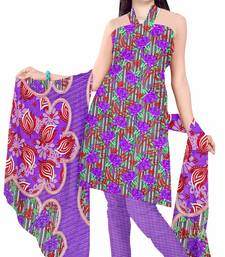 Buy Purple printed art silk unstitched salwar with dupatta salwar-kameez-below-300 online