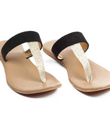 Brown and Glossy Golden T style Flat