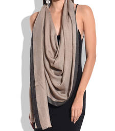 Buy Beige Pure Wool Shawl with Black Silk Border shawl online
