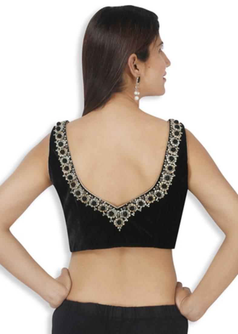 3b93c0cfc53569 Black velvet embroidery non padded readymade sleeveless blouse ...