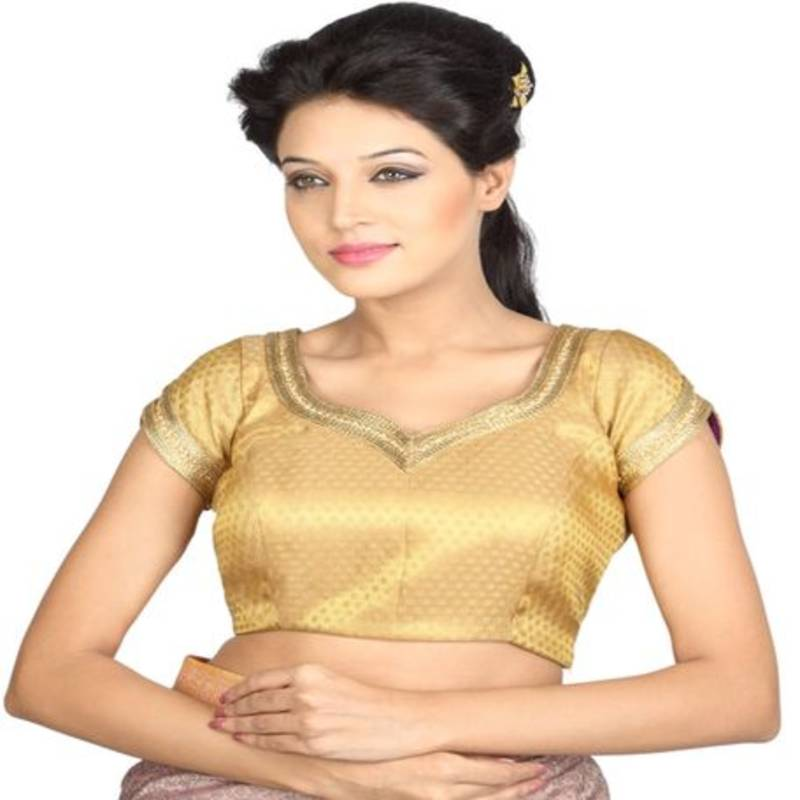 165b9ad0f949cd golden brocade embroidery padded readymade blouse - muhenera s - 930468