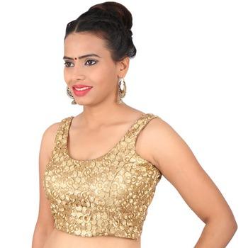 f397ce0bb606b Sunshine golden brocade embroidery non padded readymade sleeveless blouse -  muhenera s - 930533
