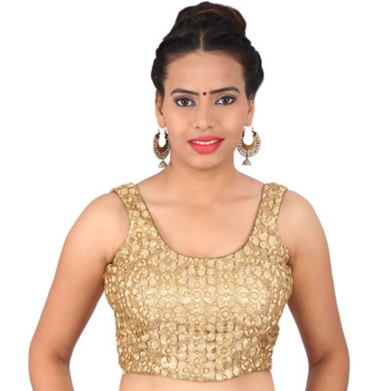 6059a38abdf35 Sunshine golden brocade embroidery non padded readymade sleeveless blouse  ...