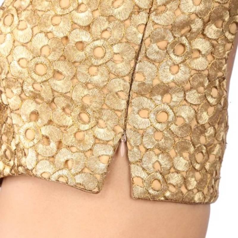 21f317b14a891 ... Sunshine golden brocade embroidery non padded readymade sleeveless  blouse ...