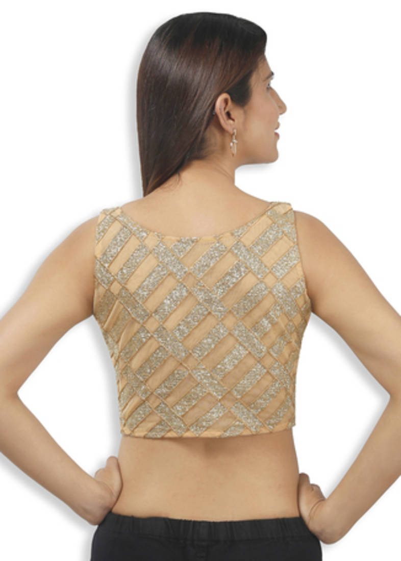 af4047f63a6036 golden with silver net embroidery padded readymade sleeveless blouse ...