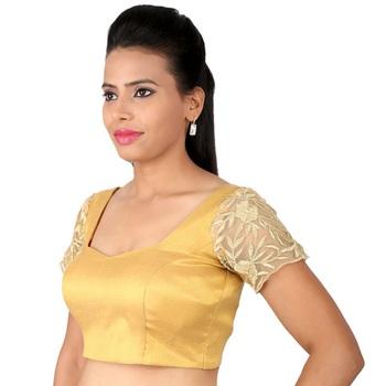 8b19305e3d88e9 golden dust. Tissue embroidery padded readymade blouse - muhenera s - 930543
