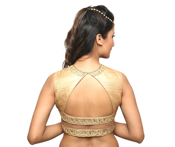 f4e22e81fa80c9 golden brocade embroidery padded readymade blouse - muhenera s - 930788