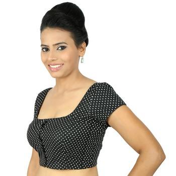 3799185390a0e8 Black cotton embroidery padded readymade blouse - muhenera s - 930931