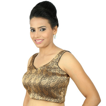 9ac70d252fa334 Copper brocade embroidery padded readymade blouse - muhenera s - 930975