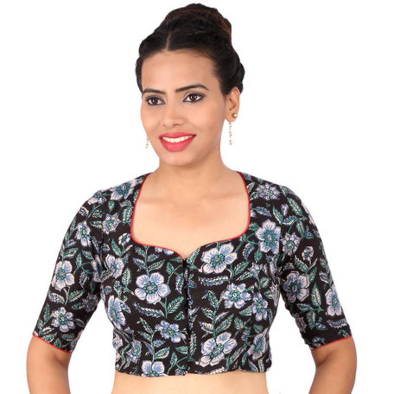 Buy Black With Prints Kalamkari Embroidery Non Padded Readymade