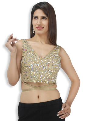 51f4a527cee528 golden with stones cotton silk embroidery padded readymade blouse - muhenera  s - 931064