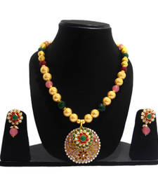 Buy TRADITIONAL MOTHER OF PEARL NECKLACE WITH  EXCLUSIVE PACHI WORK necklace-set online