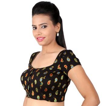0cf3307ae3216b Black cotton embroidery padded readymade blouse - muhenera s - 931089