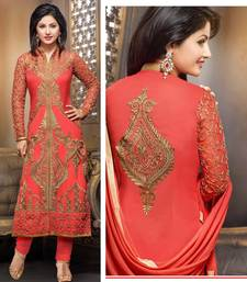 Buy red georgette embroidered unstitched salwar with dupatta dress-material online
