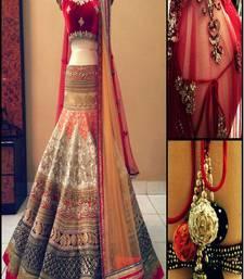 Buy Cream and red brocade and velvet embroidered lehenga choli lehenga-choli online