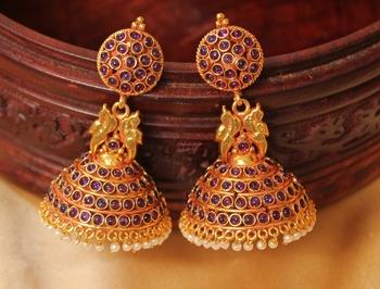 Royal Antique Designer Purple Jhumka