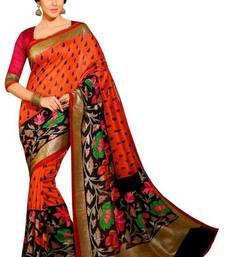 Buy Bikaw Printed Multicolor Bhagalpuri Silk Fashion Casual Wear Saree. printed-saree online