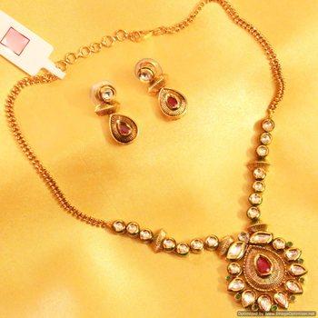 Ruby Emerald Kundan Meenakari Necklace Set