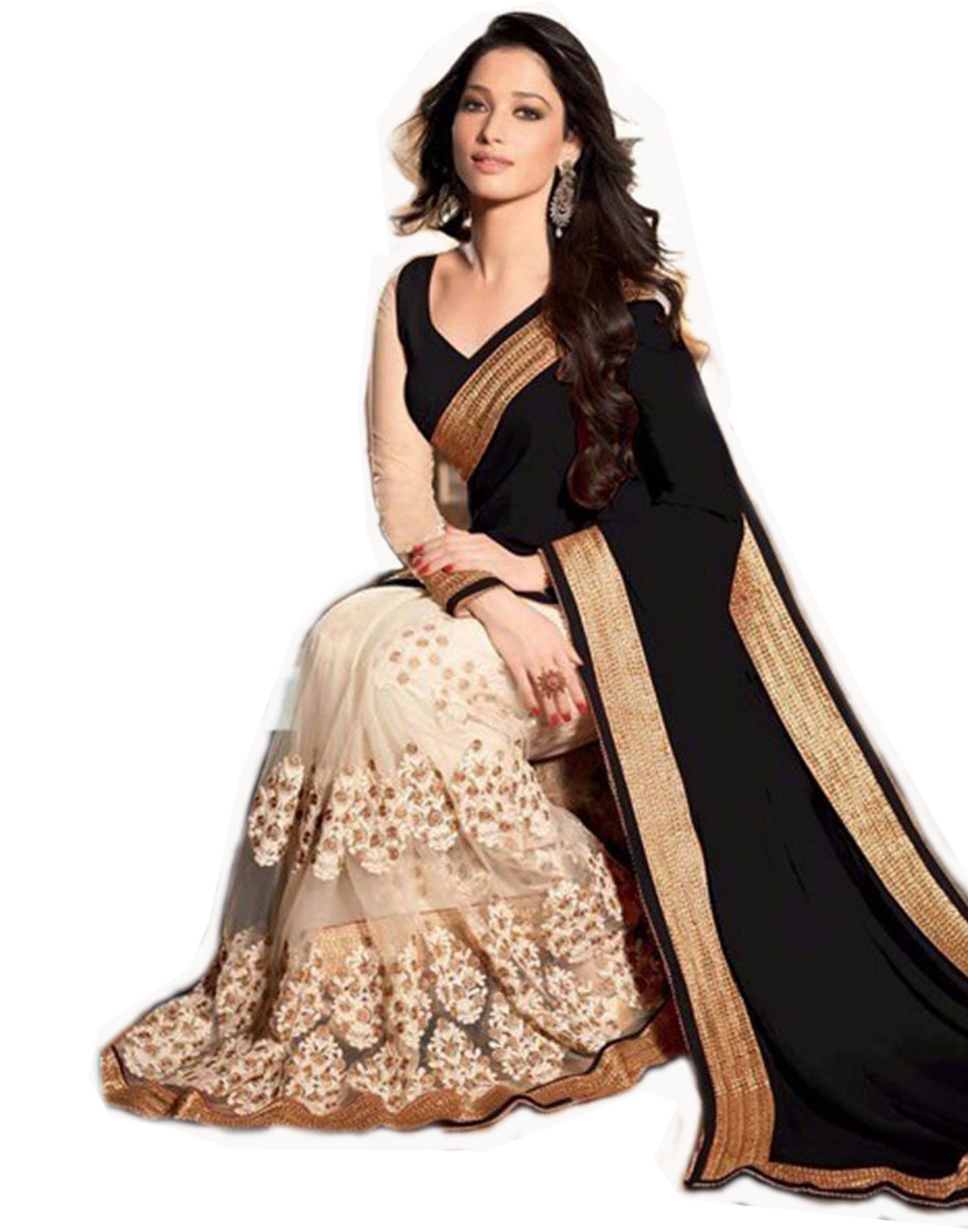 2982ac01de223c Black embroidered net saree with blouse - Home Fashion - 769470