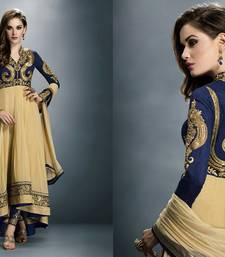 Buy Beige georgette embroidered semistitched salwar with dupatta party-wear-salwar-kameez online