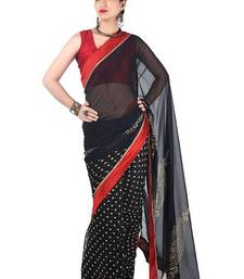 Buy Black Satin Georgette Indian Designer Saree satin-saree online