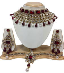 Buy red and white necklaceset bridal-set online