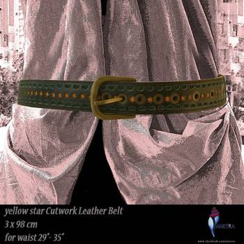yellow star cut leather belt