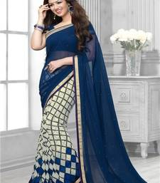 Blue and cream printed georgette saree with blouse with blouse shop online