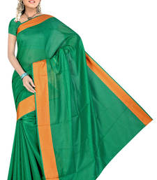 Buy green plain cotton poly saree with blouse cotton-saree online