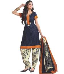 Buy Navy Blue printed Chanderi unstitched salwar with dupatta dress-material online