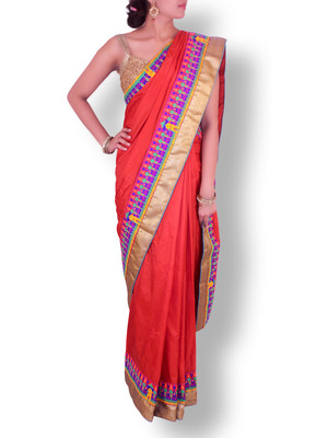 Buy Vermillion Red Silk Saree With Kutch Embroidery Work On Border