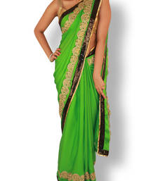 Buy green plain satin saree with blouse satin-saree online