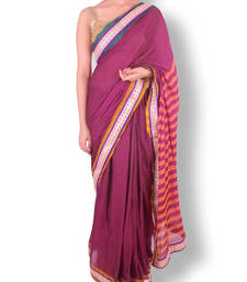 Buy wine plain cotton saree with blouse cotton-saree online
